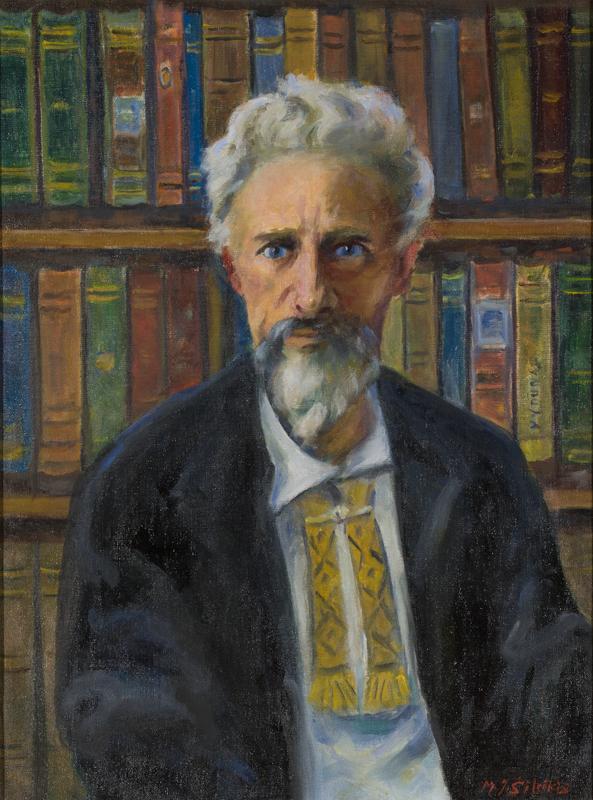 ZKM-10706; D-203; M. Šileikis Filosofo Vydūno portretas. Išm. 61,0×46,0 cm