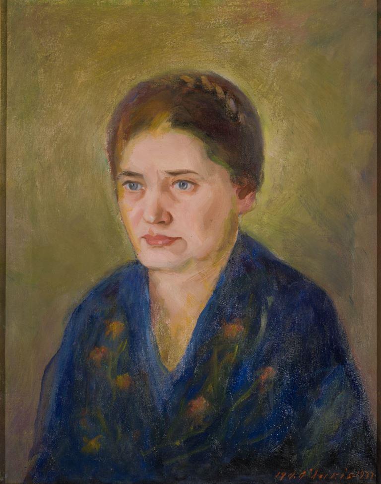 """ZKM-10518; D-73 M. Šileikis """"Žmonos portretas"""". Drobė, aliejus. 1924 m. Išm: 90,7×76,7 cm"""