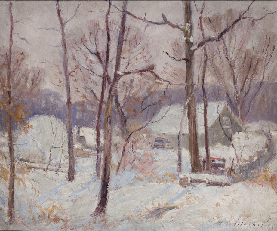 """ZKM-10697; D-194 M. Šileikis """"Žiema"""". 1926 m. Drobė, aliejus. Išm: 50,6×60,6 cm"""