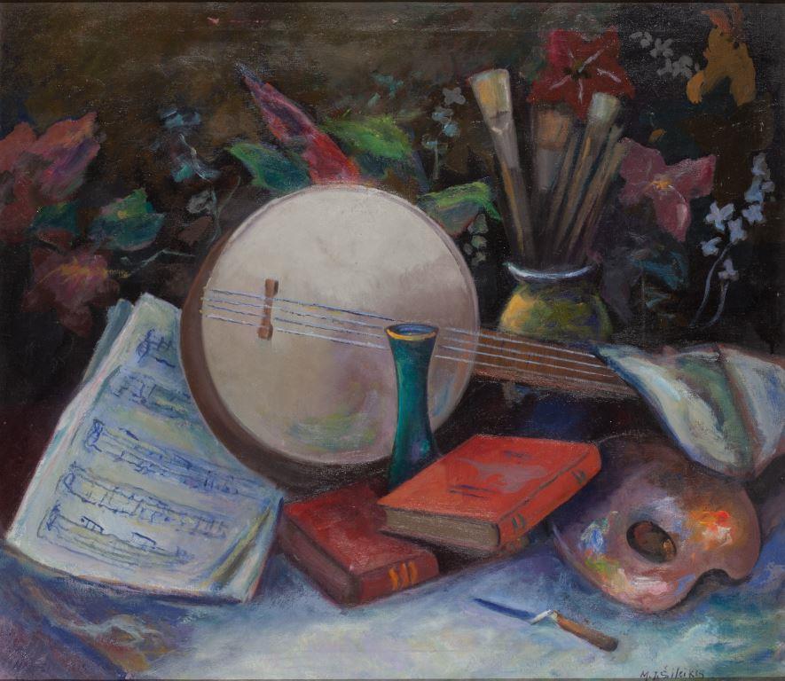 """ZKM-10701; D-198 M. Šileikis """"Mokslas, muzika, dailė"""". Drobė, aliejus. Išm: 66,0×76,0 cm"""