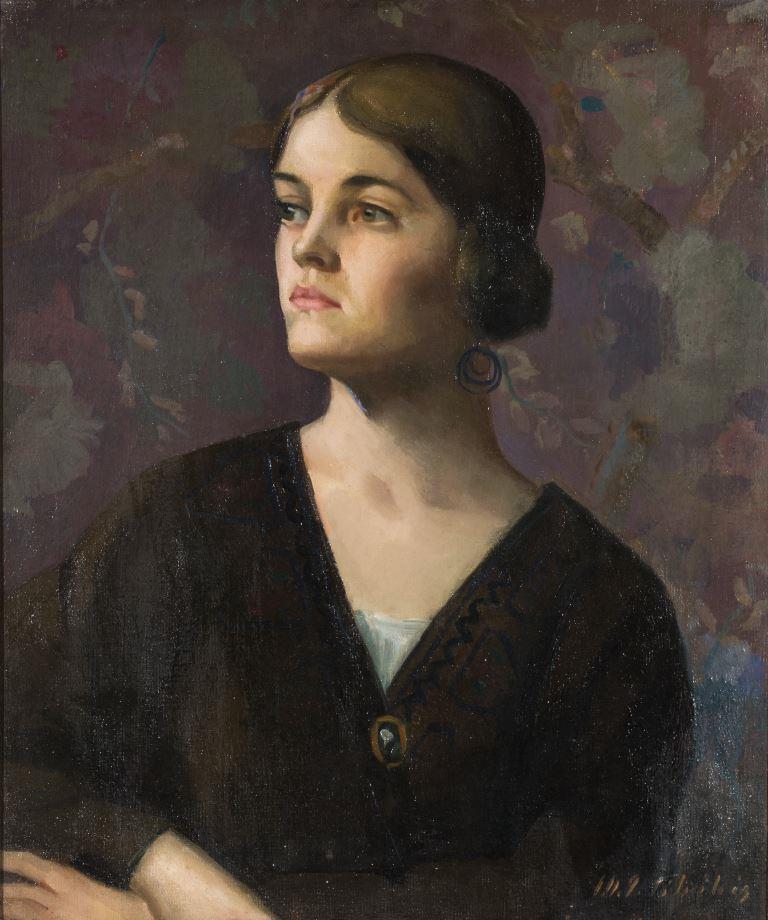 """ZKM-10704; D-201 M. Šileikis """"Mergaitė su auskaru"""". 1925 m. Drobė, aliejus. Išm: 61,0×51,3 cm"""
