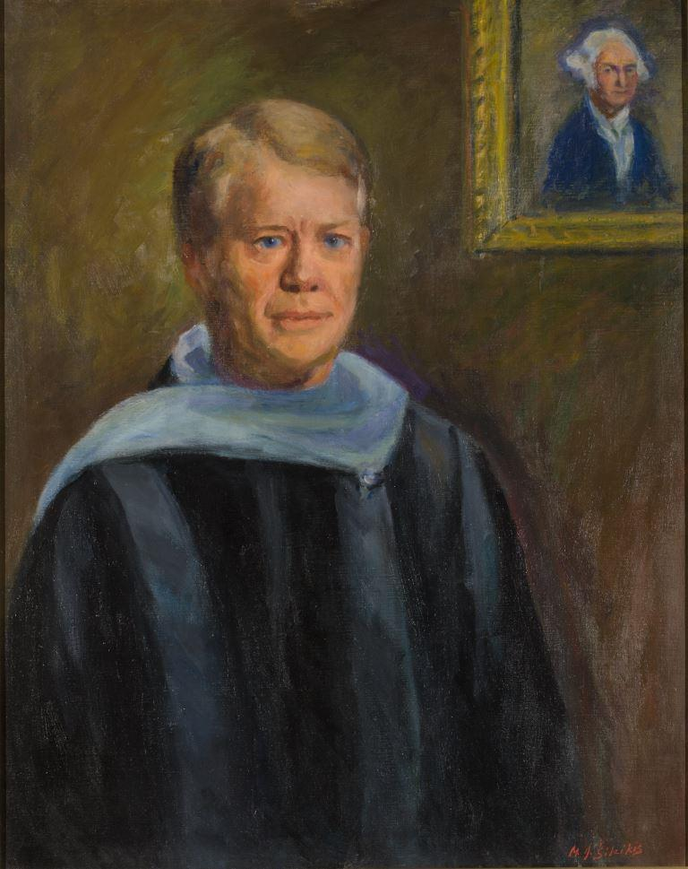 "ZKM-10705; D-202 M. Šileikis ""Prezidento J. Carterio portretas"". Drobė, aliejus. Išm: 76,0×61,0 cm"