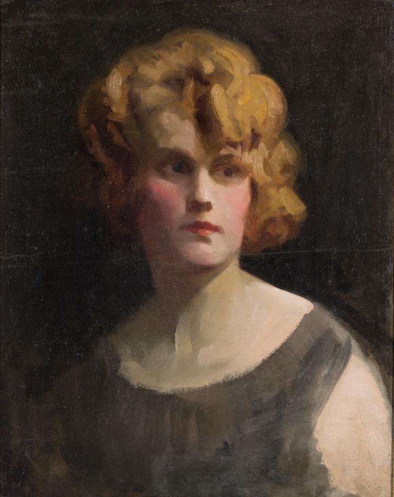 """ZKM-10707; D-204 M. Šileikis """"Moters portretas"""". Drobė, aliejus. Išm: 50,7×40,7 cm"""
