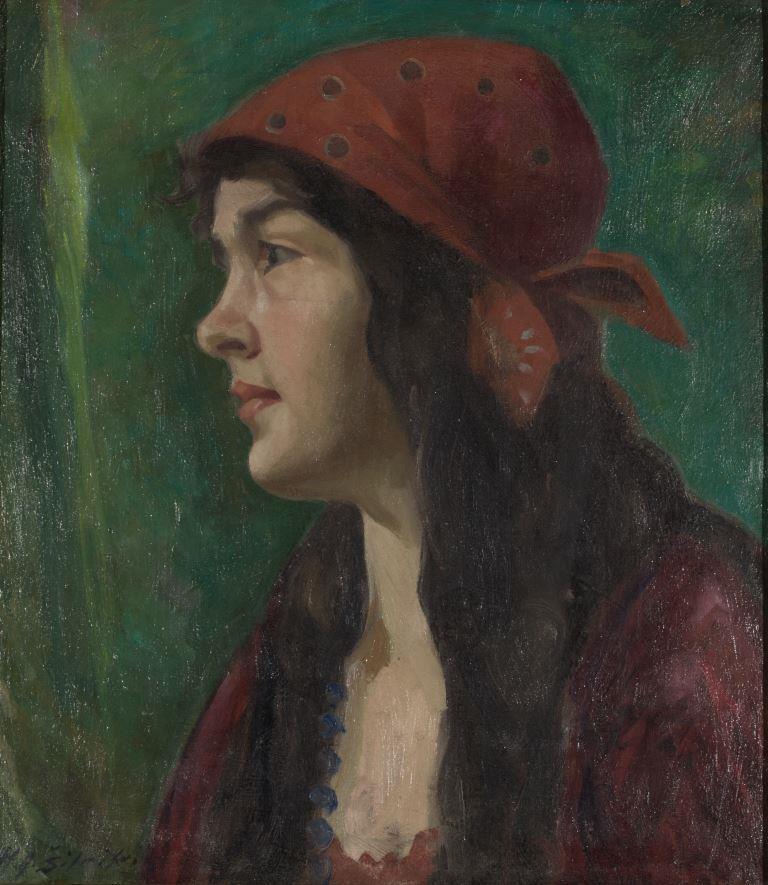 """ZKM-10711; D-208 M. Šileikis """"Mergaitė su raudona skarele"""". Drobė, aliejus. Išm: 46,3×40,7 cm"""