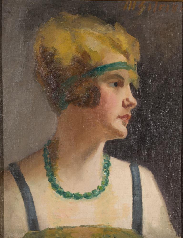 """ZKM-10713; D-210 M. Šileikis """"Blondinė su žaliais karoliais"""". Drobė, aliejus. Išm: 45,5×35,2 cm"""