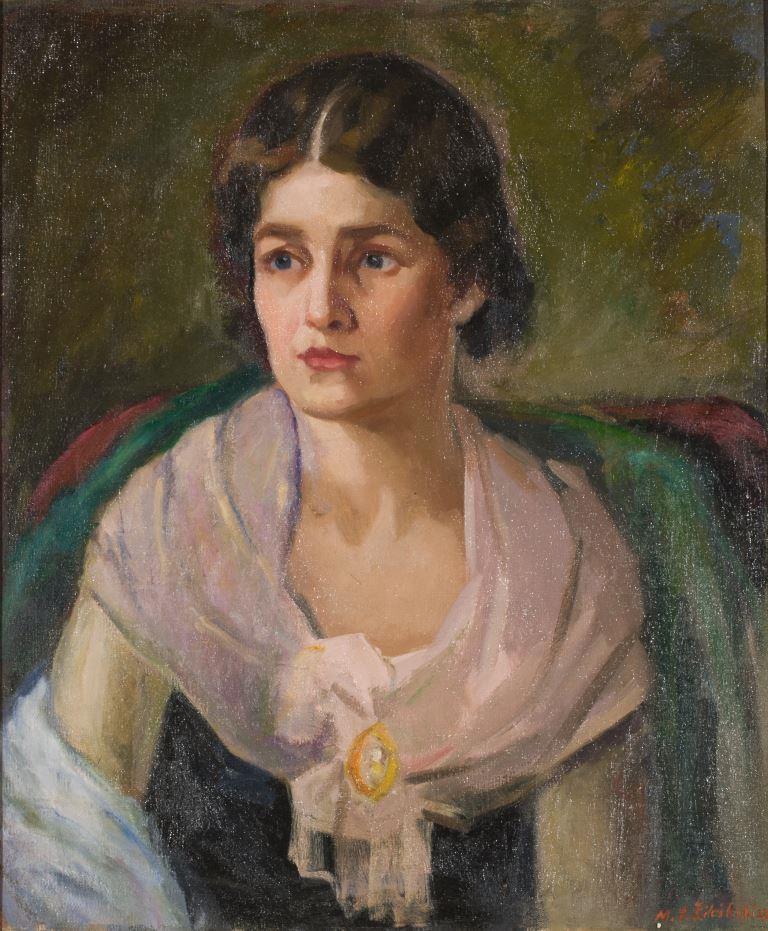 """ZKM-10714; D-211 M. Šileikis """"Mergaitė su žaliu šaliu"""". Drobė, aliejus. Išm: 60,6×50,7 cm"""