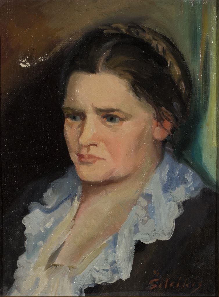 """ZKM-10716; D-213 M. Šileikis """"Žmonos portretas"""". Drobė, aliejus. Išm: 30,4×27,7 cm"""