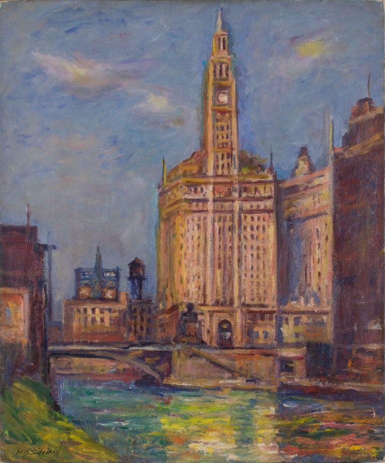 """ZKM-12787; D-223 M. Šileikis """"Wrigley pastatas Čikagoje"""". 1941 m. Drobė, aliejus. Išm: 61,0×50,6 cm"""