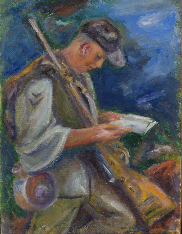 """ZKM-12791; D-227 M. Šileikis """"Medžiotojas"""". 1968 m. Drobė, aliejus. Išm: 50,7×40,8 cm"""