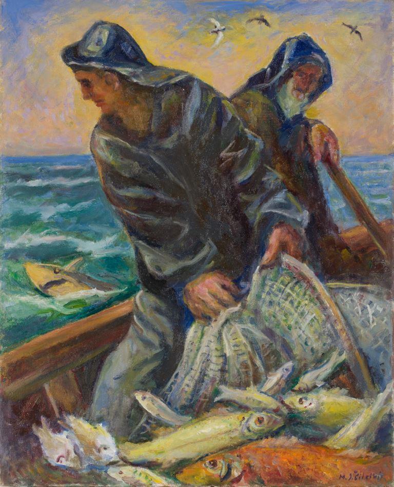 """ZKM-12800; D-236 M. Šileikis """"Žvejas"""". Drobė, aliejus. Išm: 76,0×60,7 cm"""